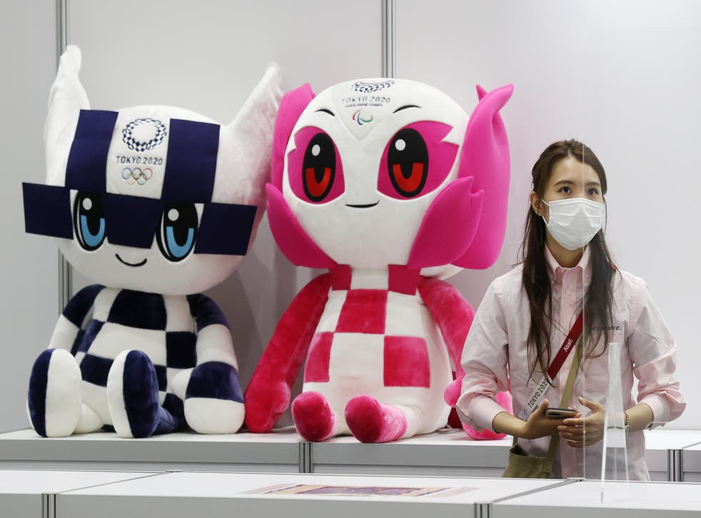 <p>Miraitowa and Someity, the mascots of the Olympic and Paralympic Games on display at the Main Press Centre of the 2020 Summer Olympics</p>