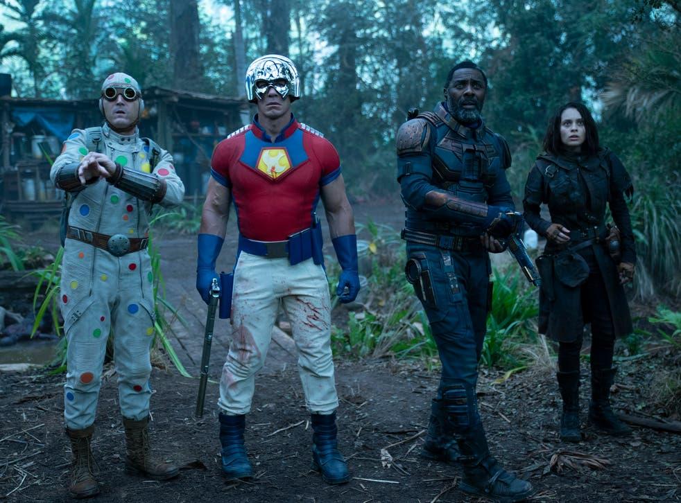 <p>David Dastmalchian, John Cena, Idris Elba and Daniela Melchior in 'The Suicide Squad'</p>