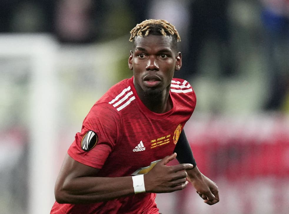 <p>Paul Pogba in action for United during the Europa League final defeat</p>