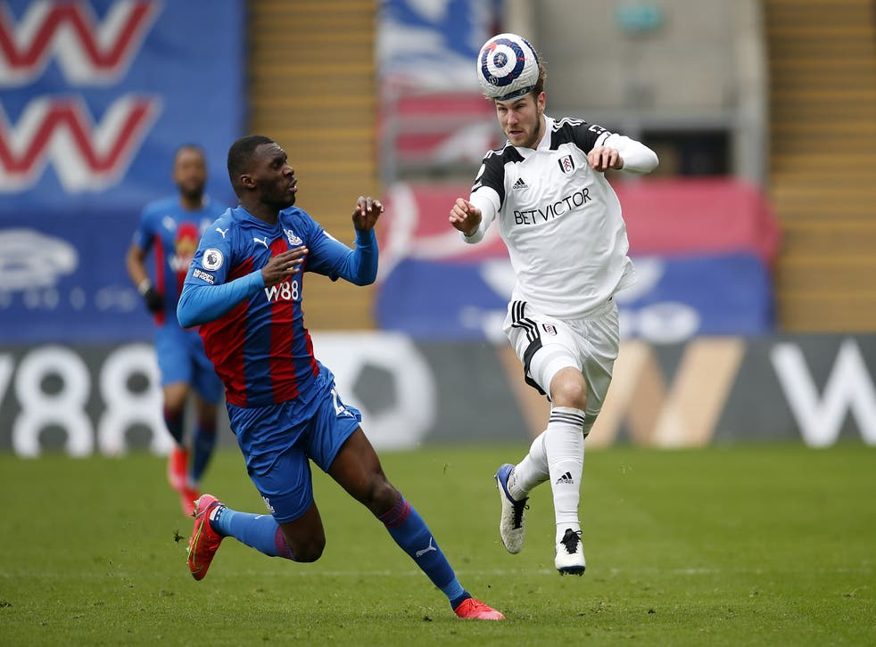 <p>Joachim Andersen (right) played against Palace while on loan at Fulham last season</p>