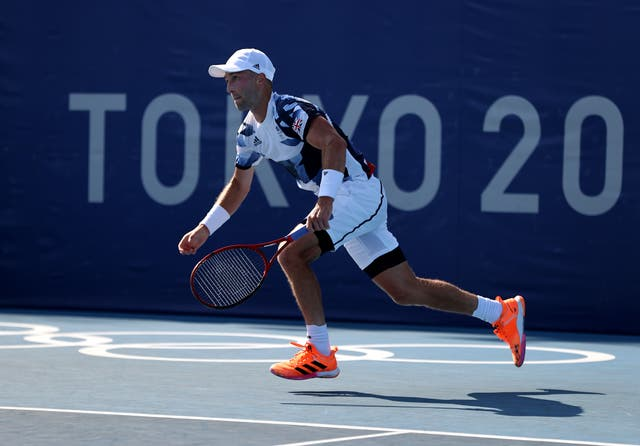 <p>Liam Broady plays Jeremy Chardy of France on Wednesday at Ariake Tennis Park in Tokyo</p>