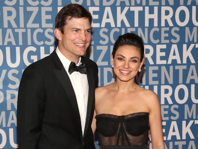 <p>Ashton Kutcher and Mila Kunis attend the 2018 Breakthrough Prize at NASA Ames Research Center on 3 December 2017 in Mountain View, California</p>