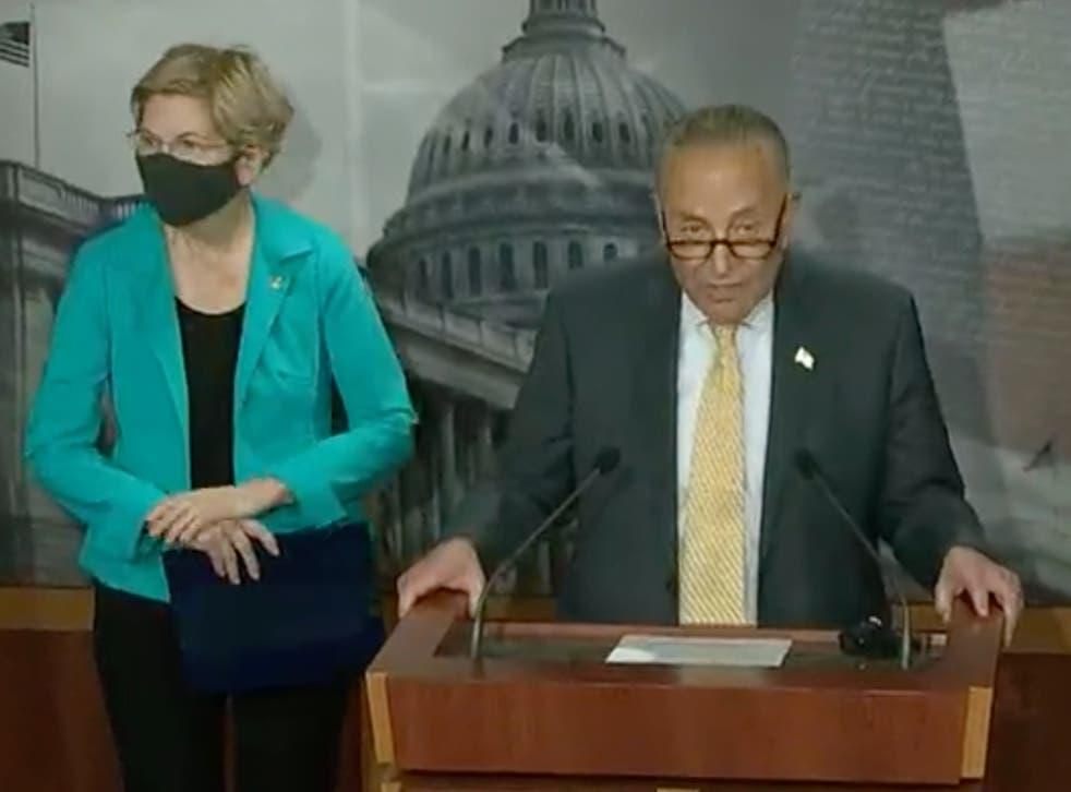 <p>Senators Chuck Schumer and Elizabeth Warren, and Representative Ayanna Pressley called on Joe Biden to extend the pause on student debt payments</p>