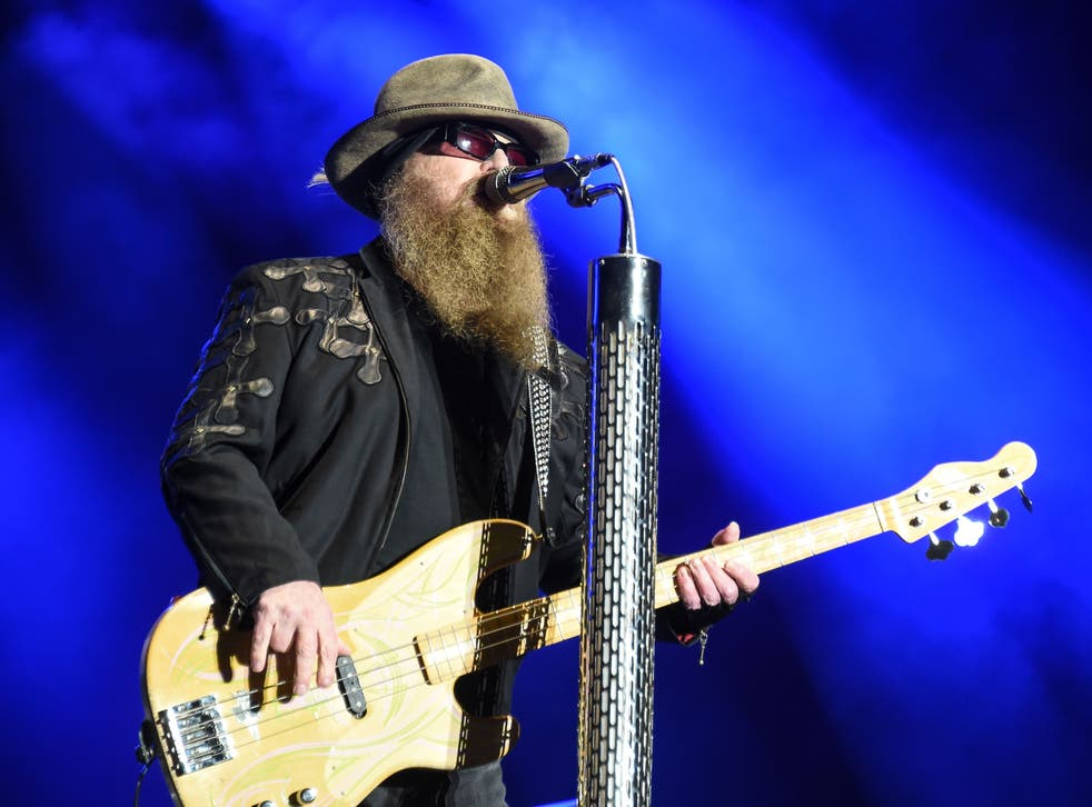 <p>Dusty Hill of ZZ Top performs during the Eurockeennes rock music festival on 3 July 2016 in Belfort, France</p>