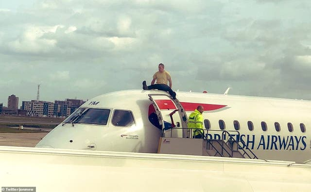 <p>Brown spent an hour on the plane, live-streaming the protest </p>