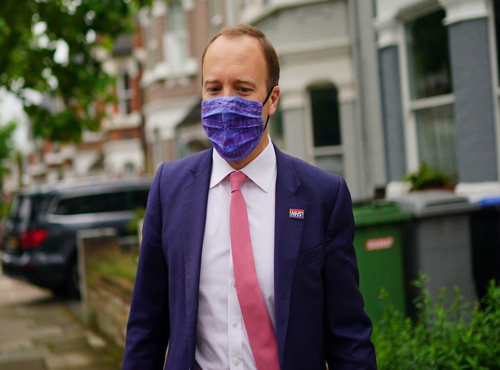 <p>Former Health Secretary Matt Hancock outside his home in north-west London</p>