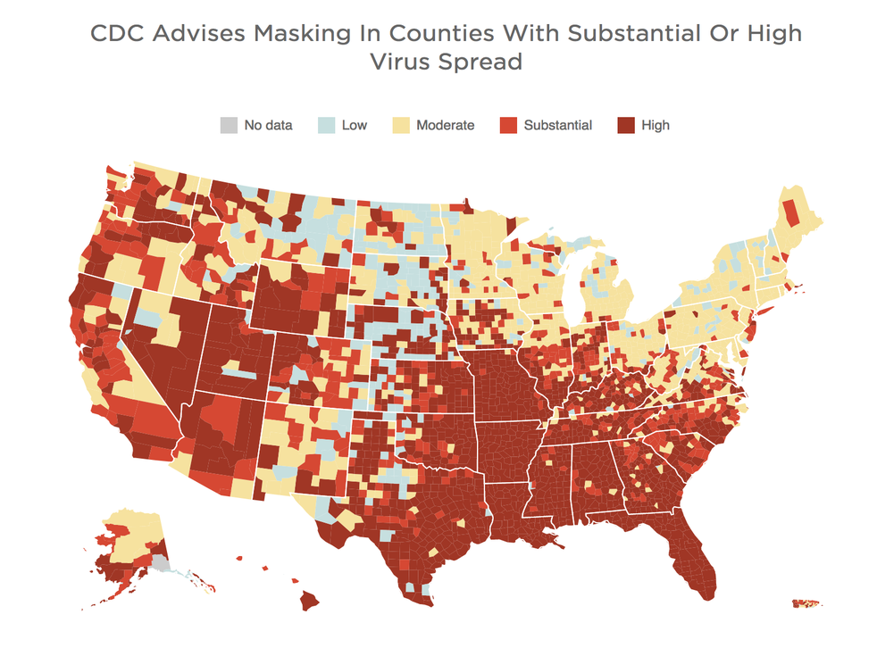 <p>The CDC Covid hotspot map shows where vaccinated people should wear masks indoors</p>