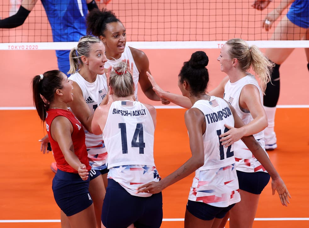 <p>Team United States celebrates against Team China during the Women's Preliminary - Pool B volleyball on day four of the Tokyo 2020 Olympic Games at Ariake Arena on July 27, 2021 in Tokyo, Japan. </p>
