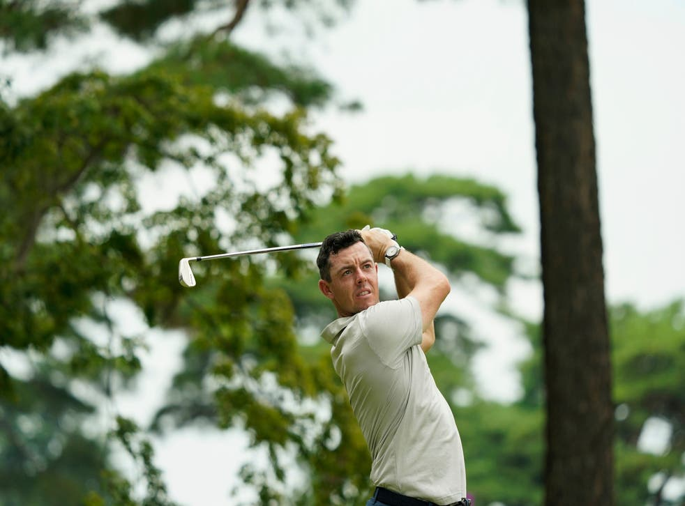 <p>Rory McIlroy in action on the 7th hole</p>