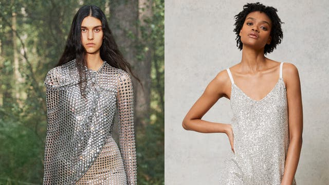 Sequins and glitter were awash on the SS21 catwalks (Burberry/Mint Velvet/PA)