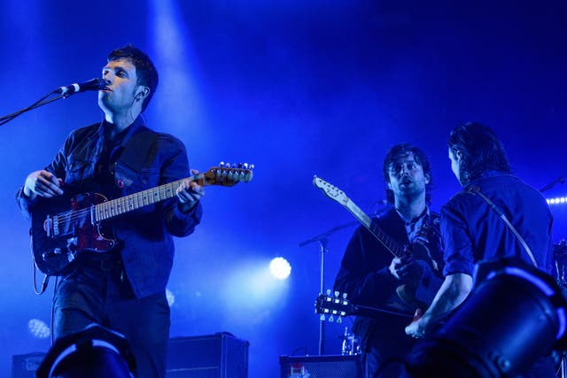 <p>The Maccabees' Orlando Weeks, Felix White and Hugo White at their farewell show at Alexandra Palace, London, in 2017</p>