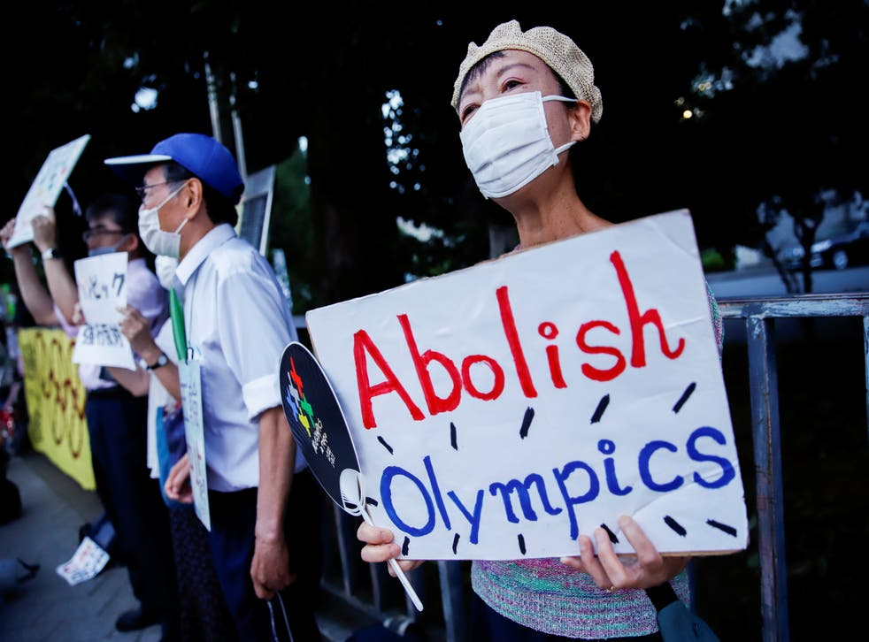 <p>Anti-Olympic protesters gather outside Japanese prime minister Yoshihide  Suga's office</p>