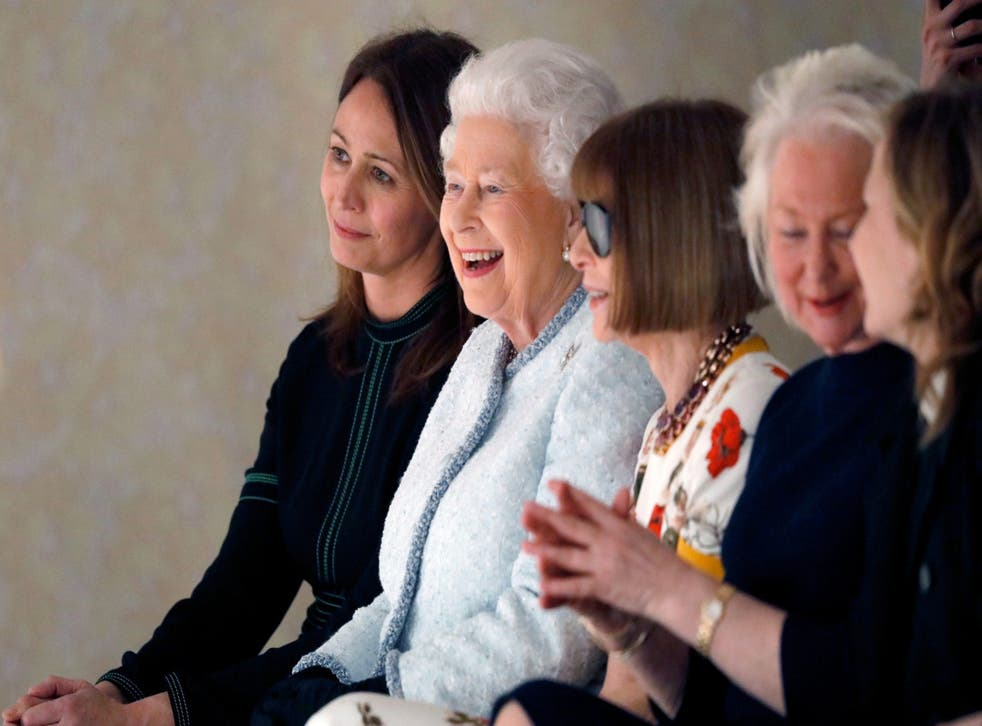 <p>Rush (L) with the Queen and Anna Wintour: 'The aim is to really lift up the women'</p>