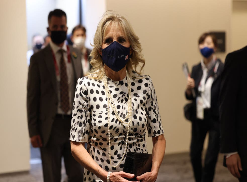 <p>Jill Biden wears her polka-dot Brandon Maxwell dress to the opening ceremony of the Tokyo 2020 Olympic Games</p>