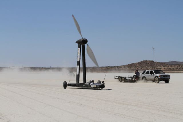 <p>A YouTuber won a $10,000 bet with a UCLA science professor that the Blackbird, a wind-powered land yacht, could travel faster than the speed of the wind pushing it forward.</p>