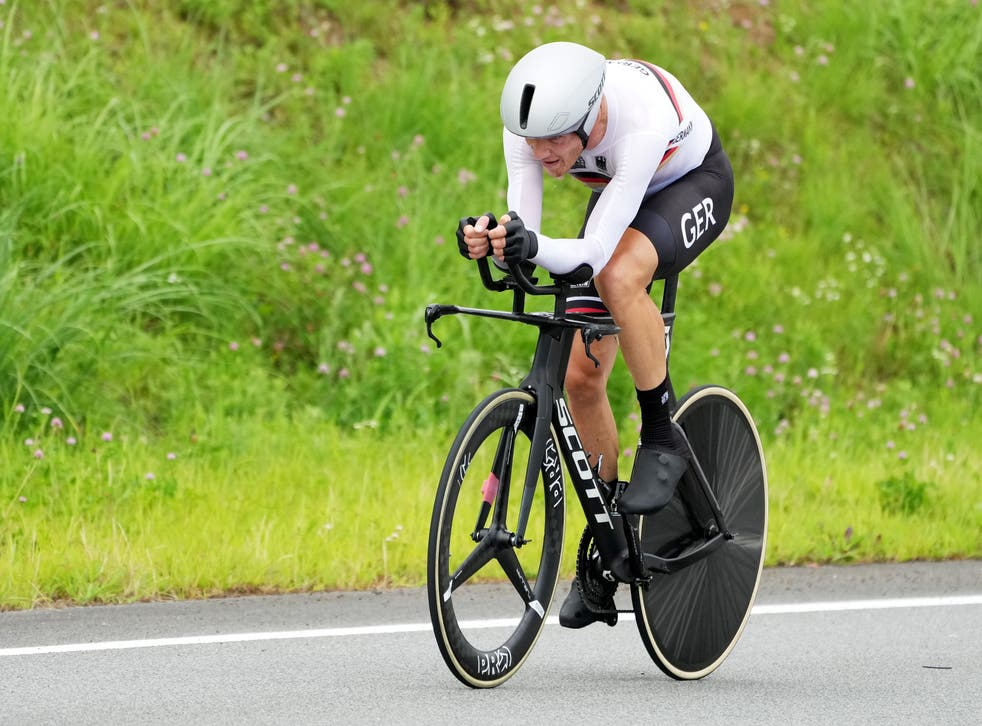 <p>Nikias Arndt of Germany competes in the Men's Road Cycling Time Trial at the Tokyo 2020 Olympic Games at the Fuji International Speedway in Oyama, Japan</p>