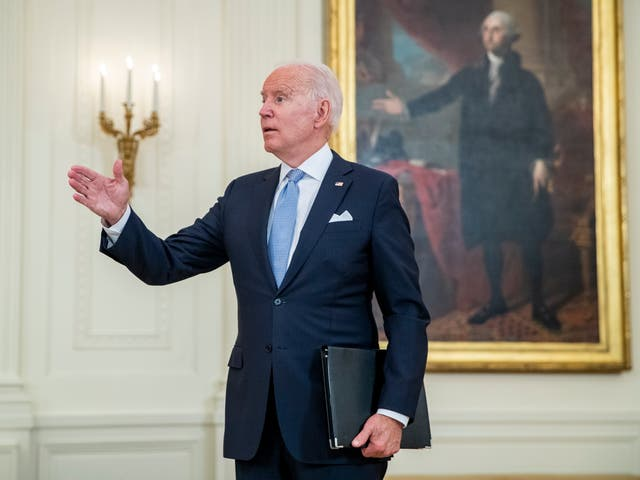 <p>President Joe Biden responds to a question from the news media following his remarks on the efforts to get more Americans vaccinated and the spread of the Delta variant</p>