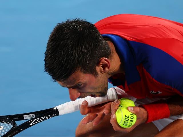 <p>Novak Djokovic reacts during his defeat by Alex Zverev</p>