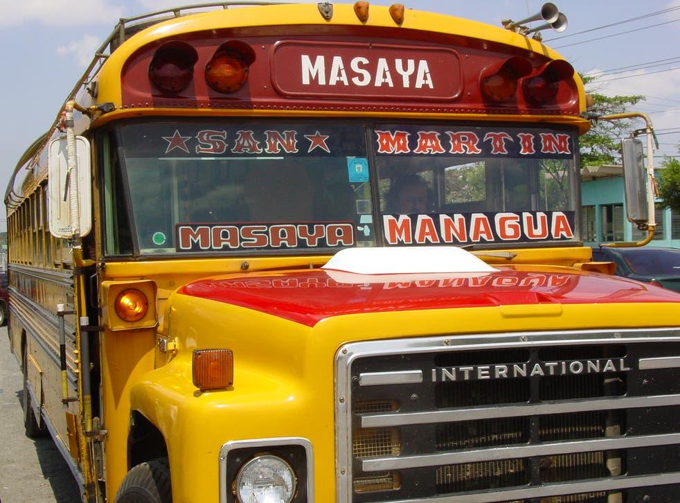 <p>Road warrior: bus on the Pan-American Highway in Nicaragua</p>