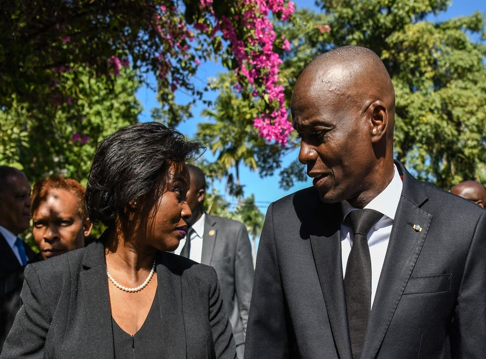 <p>Martine Moïse (L) lost her husband President Jovenel Moïse (R) in an assassination</p>