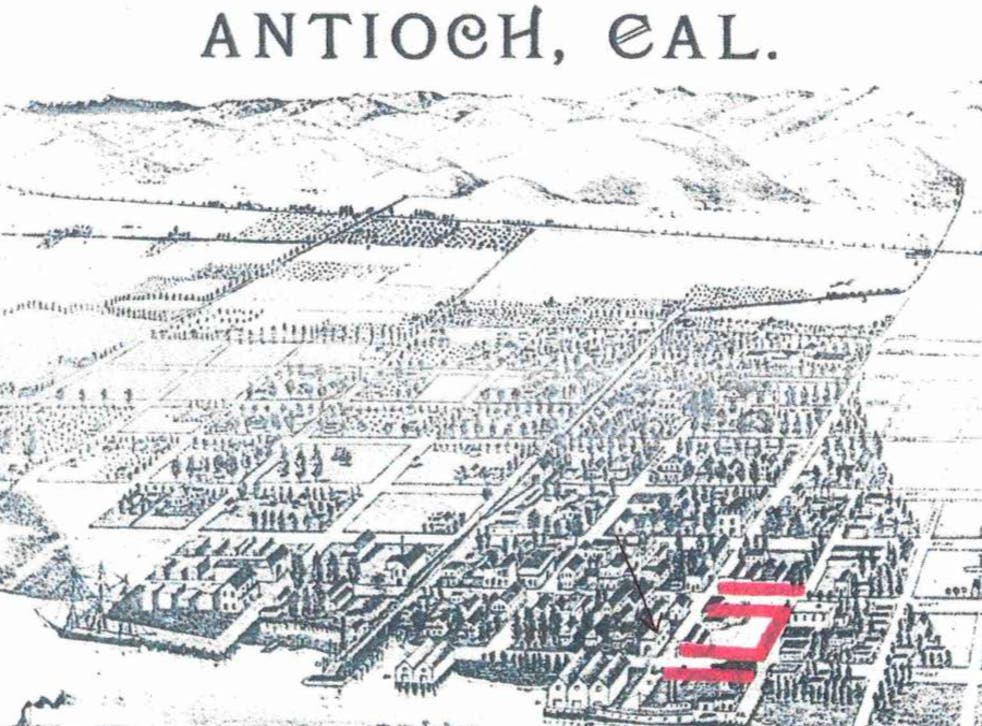 <p>A map of Antioch, California, showing the Chinatown in the 1800s</p>