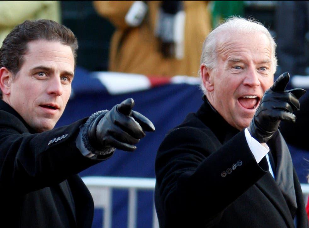 <p>Hunter and Joe Biden</p>