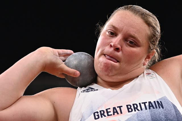 <p>Britain's Sophie McKinna competes in the women's shot put qualification during the Tokyo 2020 Olympic Games at the Olympic Stadium in Tokyo on July 30, 2021</p>