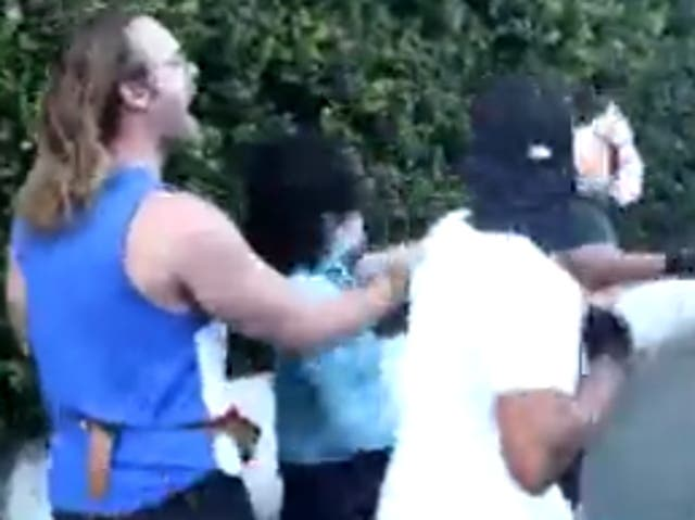 <p>Vishal Singh, an advocacy journalist, is involved in a confrontation with anti-vaccine protesters in Los Angeles</p>