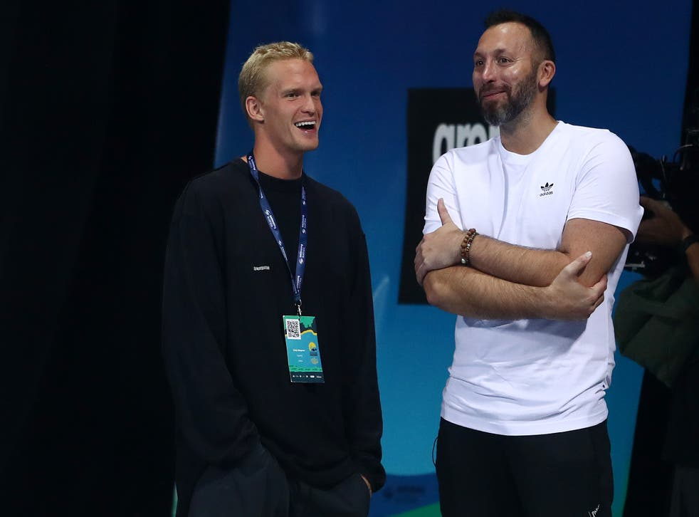 <p>Cody Simpson and Ian Thorpe talk during the 2021 Australian Swimming Championships at the Gold Coast Aquatic Centre on April 15, 2021 in Gold Coast, Australia. </p>