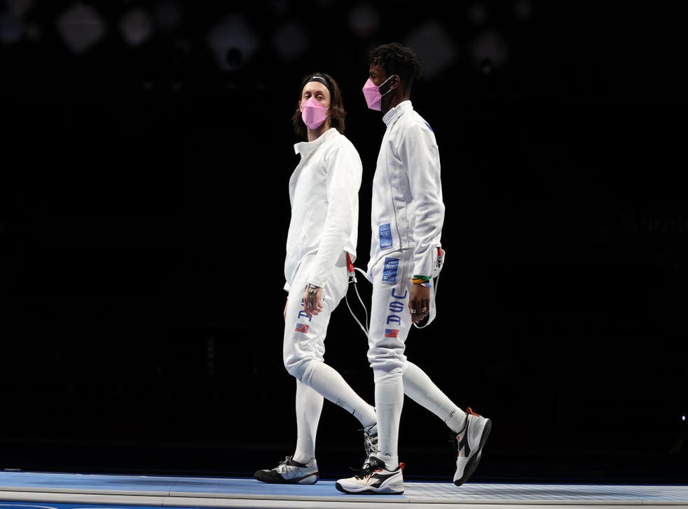 <p>Jacob Hoyle of Team United States, left, and Curtis McDowald of Team United States react to their loss to Team Japan in Men's Épée Team Table of 16 on day seven of the Tokyo 2020 Olympic Games at Makuhari Messe Hall on July 30, 2021 in Chiba, Japan.</p>