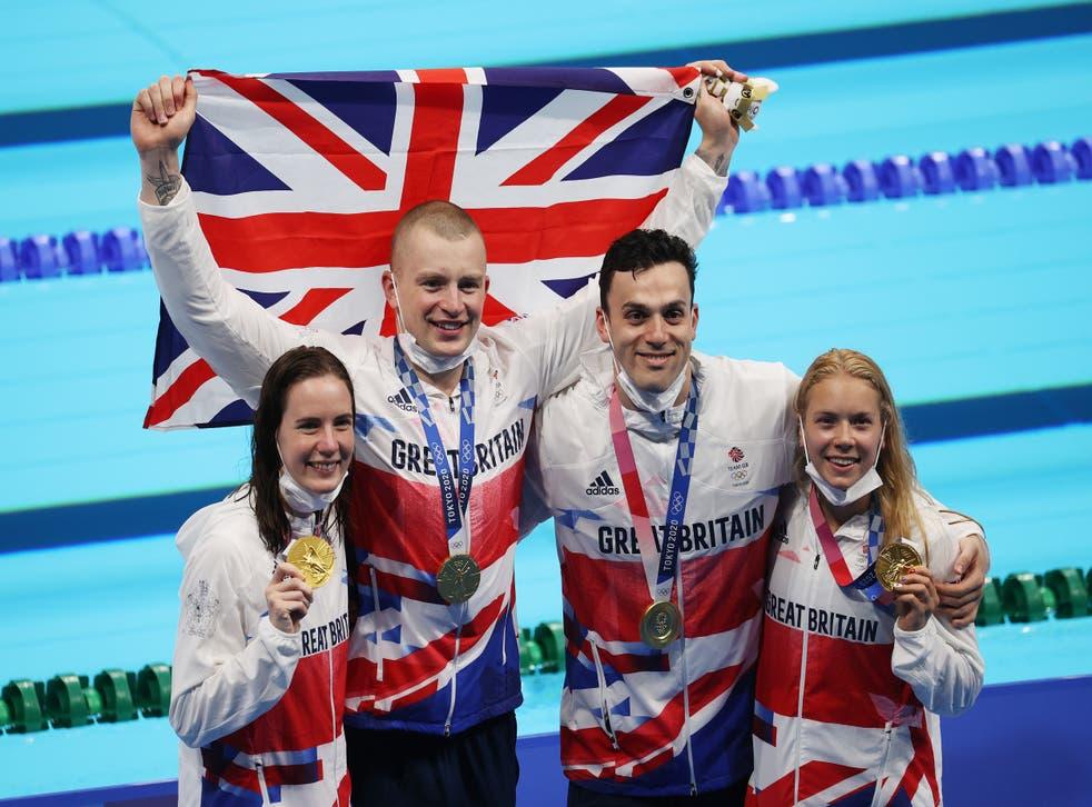 <p>The British quartet won in 3mins 37.58secs</p>