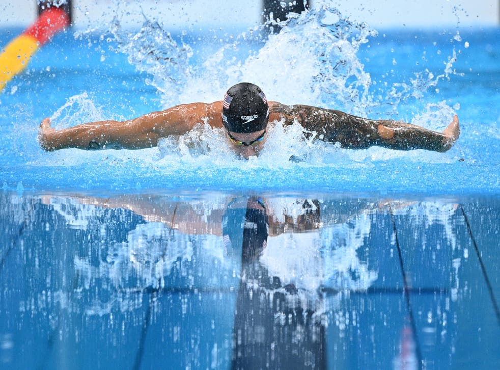 <p>Caeleb Dressel in the final of the men's 100m butterfly</p>