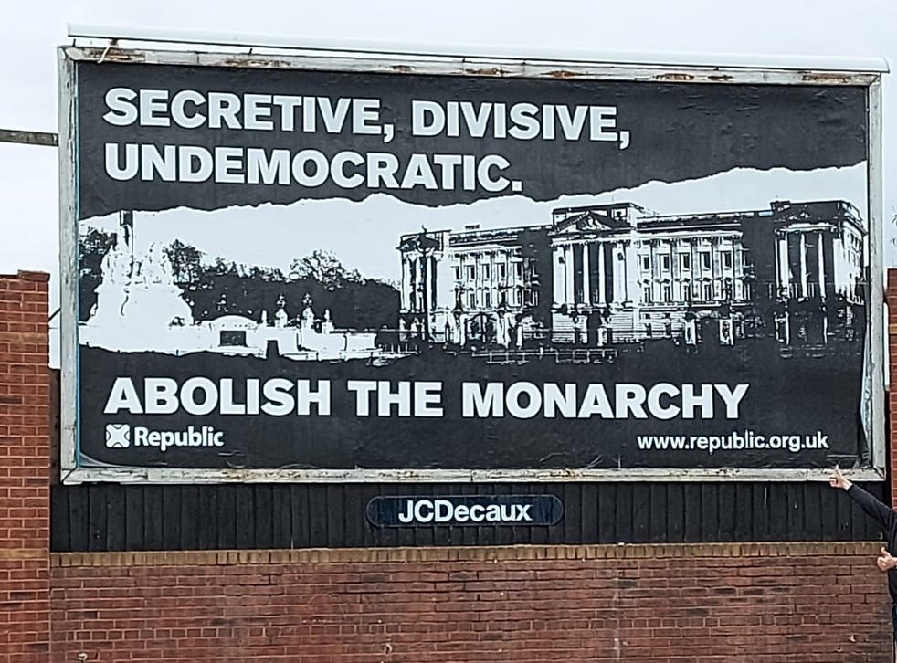 <p>Billboard campaign calling for an end to the monarchy</p>