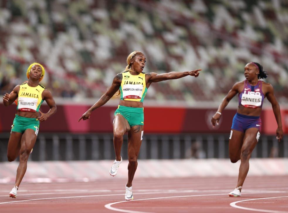 <p>Elaine Thompson-Herah of Team Jamaica wins the women's 100m final</p>