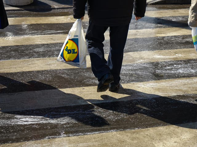<p>A person carrying a Lidl shopping bag</p>