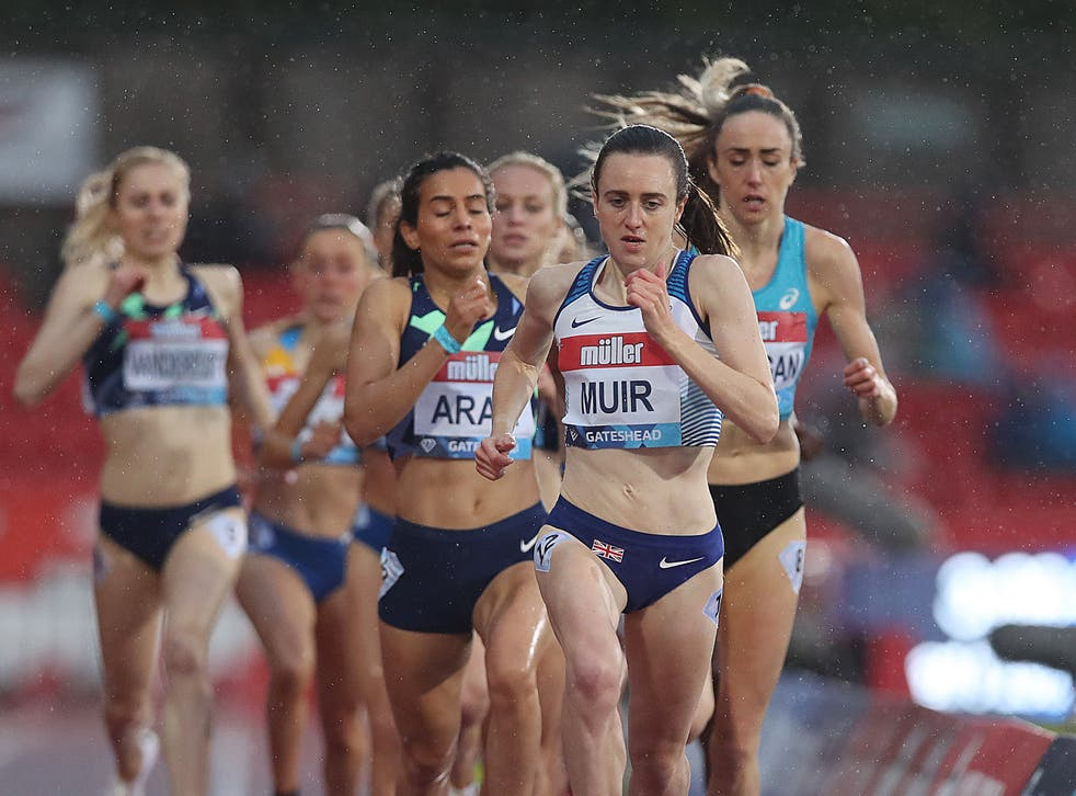 <p>Laura Muir leads the 1500m field in Gateshead this May</p>