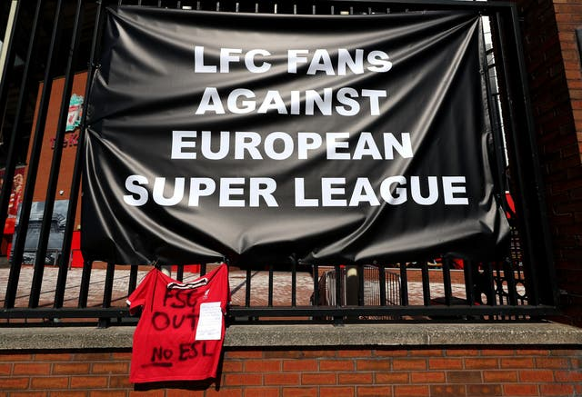 Banners protesting against the Super League were placed outside Anfield after Liverpool announced in April they were founder members of the new competition, a decision they quickly reversed (Peter Byrne/PA)