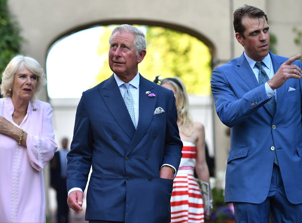 <p>Ben Elliot (fair right) with his aunt, Camilla, Duchess of Cornwall, and her husband the Prince of Wales</p>