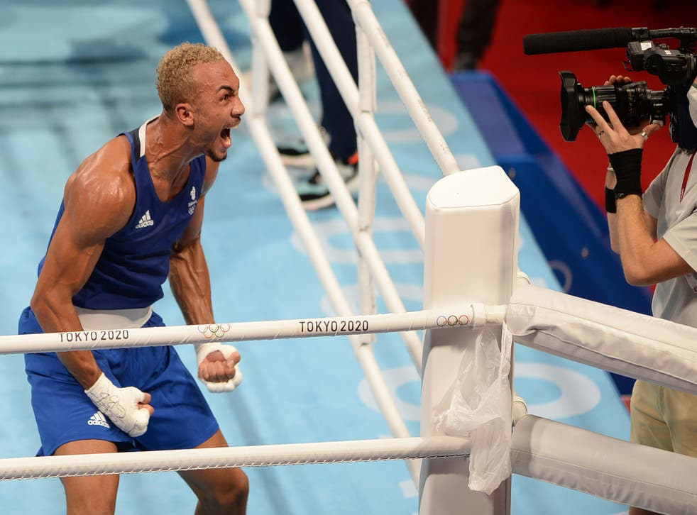 Great Britain's Benjamin Whittaker celebrates after beating Brazil's Keno Machado in the Men's Light Heavy (75-81kg) Quarterfinal 2 at the Kokugikan Arena on the seventh day of the Tokyo 2020 Olympic Games in Japan. Picture date: Friday July 30, 2021.