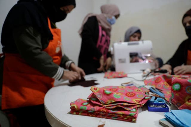 <p>Members of international NGO Days For Girls and local partner WingWoman Lebanon assemble reusable sanitary kits in the Palestinian refugee camp of Shatila</p>