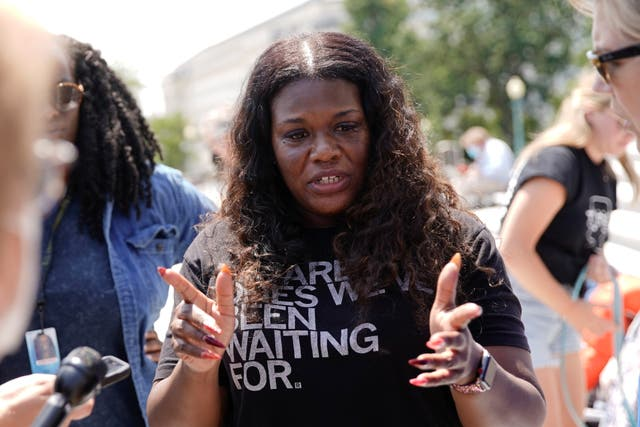 <p>U.S. Representative Cori Bush (D-MO) speaks to reporters about the upcoming expiration of the pandemic-related federal moratorium on residential evictions from the steps of the U.S. Capitol in Washington, U.S., July 31, 2021.</p>