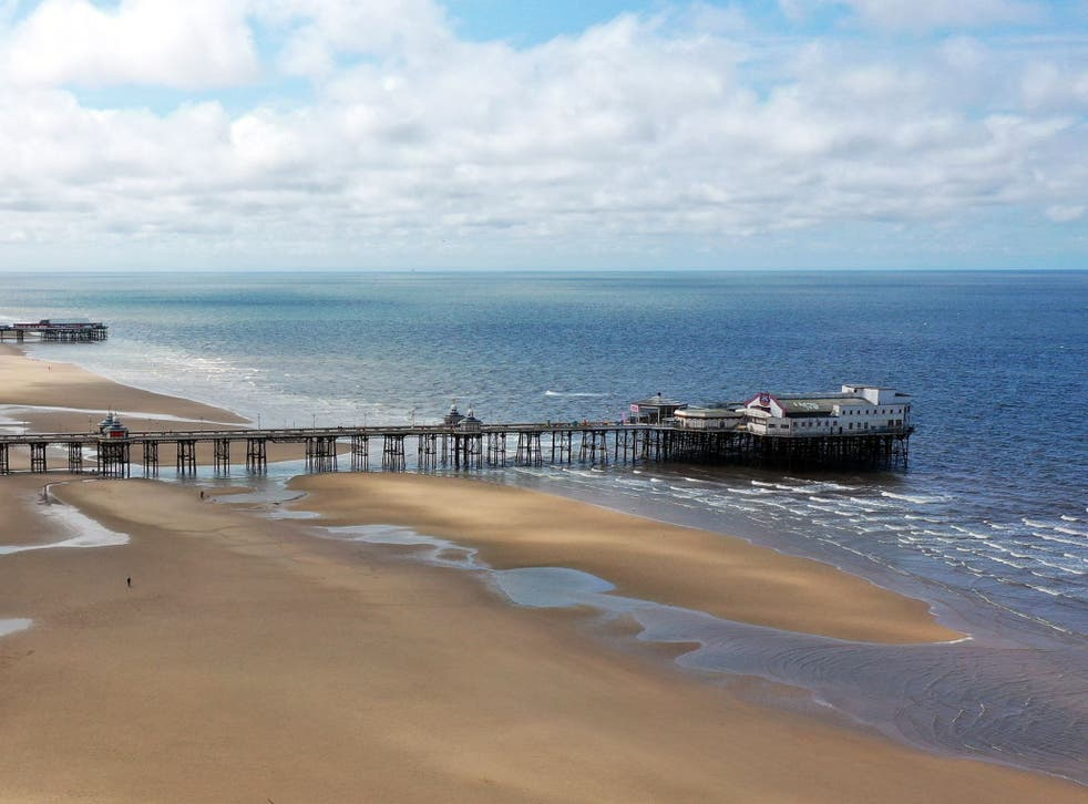 <p>Alex Gibson, 22, jumped into the water close to the North Pier in Blackpool at around 4.20am on Friday morning</p>