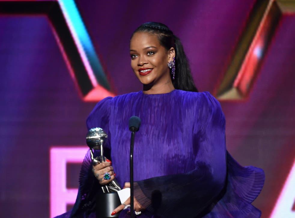 <p>Rihanna at the 51st NAACP Image Awards, February 2020</p>