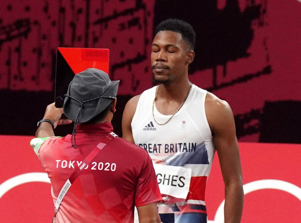 Zharnel Hughes was disqualified from the men's Olympic 100 metres final (Martin Rickett/PA)