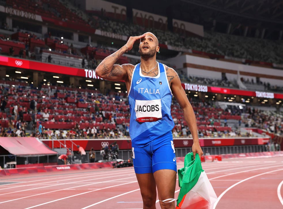 <p>Marcell Jacobs celebrates his 100m triumph on Sunday</p>
