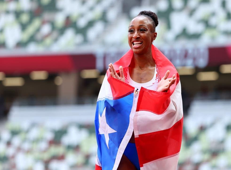 <p>Jasmine Camacho-Quinn of Puerto Rico celebrates</p>