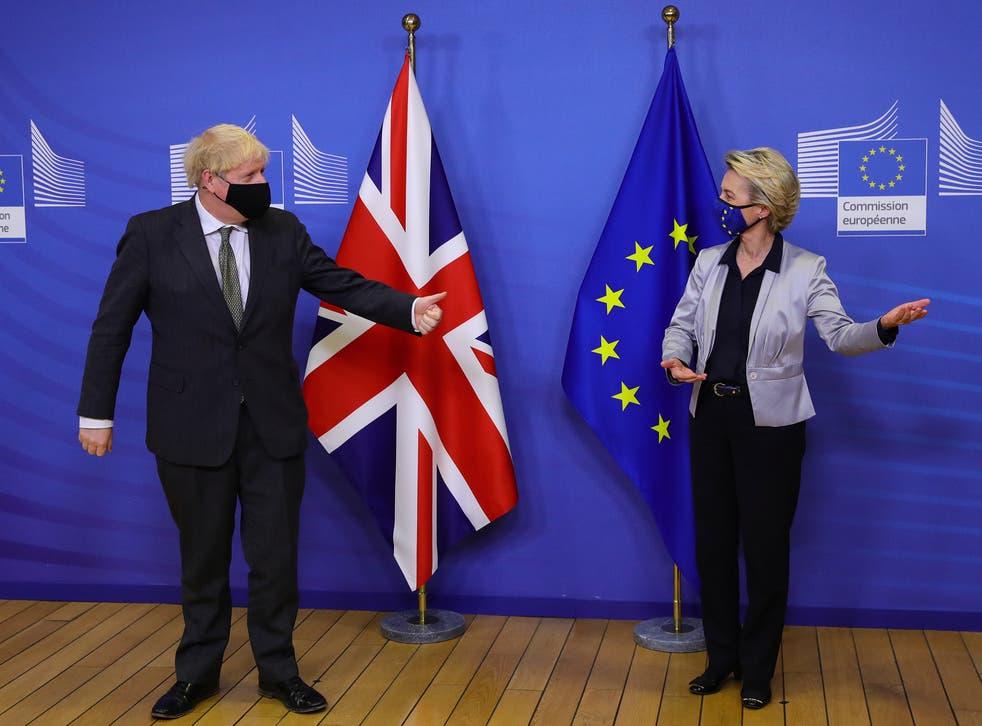 <p>Boris Johnson and European Commission president Ursula von der Leyen</p>