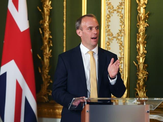 <p>Foreign secretary Dominic Raab</p>