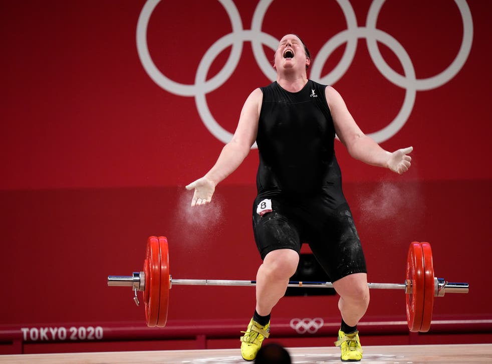 <p>Laurel Hubbard competing in the women's +87kg weightlifting final</p>