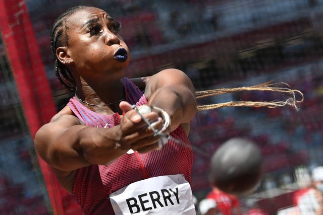 <p>US Olympian Gwen Berry has repeatedly protested injustice at athletic events</p>